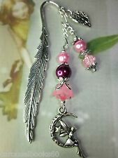 Beaded Bookmark Moon Fairy Flowers Pink Handmade Silver Designs Gift Idea