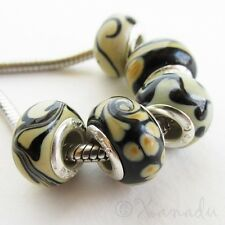 5PCs Black Brown Taupe Lampwork Glass Beads Set For European Charm Bracelets