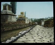Glass Magic Lantern Slide POMPEII STREET OF TOMBS C1900 ITALY ROMANS