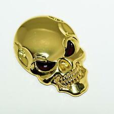 GOLD 3D Skull Zinc Alloy Metal Skull Emblem Sticker for Car Harley Bike Quad etc