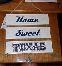 """Wooden 3 Piece """"Home Sweet Texas"""" Plaque with Dangling Star, #2"""