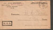 1921 Post Office Dept M.O.B. penalty envelope cover Whitney Point NY