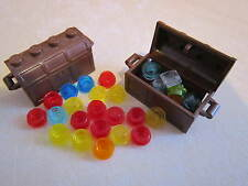 Lego 2 x Minifigure Pirate Brown Treasure Chest / Container with Jewels