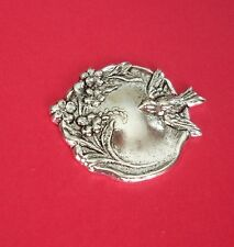 Bird and Flowers Round Antique Silver over Brass Stamping Jewelry Findings.