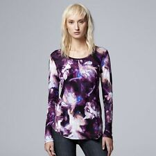 SIMPLY VERA  VERA  WANG  LONG-SLEEVE TEE TOP SHIRT      SIZE LARGE  NWT