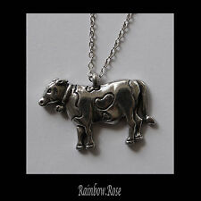 Pewter Necklace on chain #174 COW - Silver Tone Farm Animal