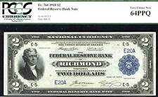 1918, $2 Fr 760 Large Size Frbn Fr-760, Richmond, Va- serial # 20! Only 3 in all