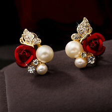 Korean Style Charm Rose Flower Clear Crystal Pearl Cute Butterfly Stud Earrings