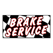 Brake Service Checkered Flag - Automotive Cars Repair Business Sign 4'x2' Banner