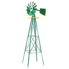 8FT Green metal Windmill Yard  Garden Wind Mill Weather rust Resistant hd steel