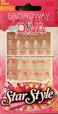 BROADWAY* Little DIVA 24 Press/Stick-On Nails PINK TIPS w/FLOWERS #56961 1/2
