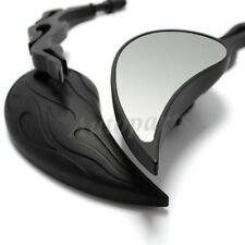 CUSTOM BLACK MOTORCYCLE FLAME REARVIEW SIDE MIRRORS FOR HARLEY SPORTSTER CHOPPER