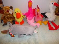 6) Original Retired Ty Beanie Baby Strut Quackers Gizmo Stilits Pinky Spike