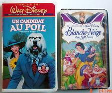 2 CASSETTES VHS DE WALT DISNEY, BLANCHE-NEIGE & LES7 NAINS + UN CANDIDAT AU POIL