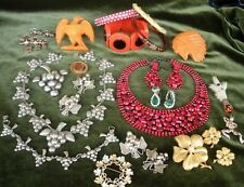 22 Pc. Vtg. Jewelry, Rhinestones, SETS, NEAL Boy Scout Slides, Mexican STERLING