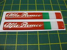 2 Domed Alfa Romeo Domed stickers with an Italian Flag Red/Silver 80mm x 12mm