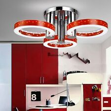 Crystal LED Ceiling Light Pendant Flush Lamp Fixture Red Round 10