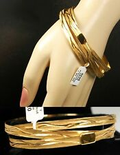 $620 Roberto Coin Silver Diamond Cut Triple Loop Bangle Bracelet Women Lady