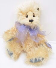 ANNETTE FUNICELLO BEAR JOINTED MOHAIR PLUSH COLLECTIBLE PURPLE BOW 18""