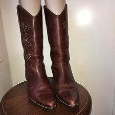 Matisse Brown Leather Cowboy Women's Boots Size 8 M Made in Brazil