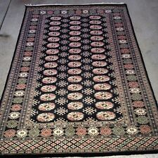 4x6 hand knotted oriental rug Black 100% Wool Pile Bokhara Design.