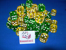 NEW 12 GREEN AND YELLOW ACRYLIC DICE 16MM 2 COLORS 6 OF EACH COLOR BUNCO YAHTZEE