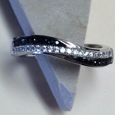 Cluster Black Sapphire White Sapphire 925 Solid Sterling Silver Band Ring sz 8