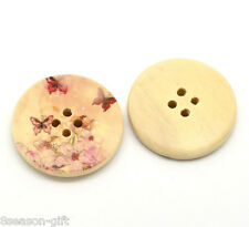 "30PCs Butterfly 4 Holes Round Wood Painting Sewing Buttons 30mm(1-1/8"")"