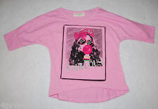 Girls S/S Tee Shirt PINK Glamour Girl GLITTER Net Bow FABULOUS Bubble Gum XS 4-5