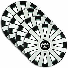 "Hub Caps 14"" TOYOTA Yaris Corolla Aygo 4x Wheel Trim Cover SILVER+BLACK ONYX"