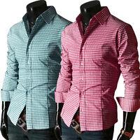 Herren Hemd Slim Fit verschiedene Farben S-XL Freizeithemden Poloshirt Karo-Hemd