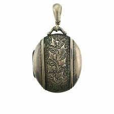 Vintage Celtic Scottish Silver Engraved Large Oval Locket