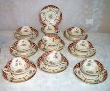 NINE Myott Staffordshire Floral Pattern 4853 Cup and Saucer Sets