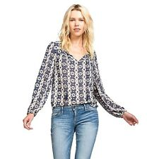 Lucky Brand - L - NWT - Navy Geometric Striped Long Sleeve Peasant Blouse Top