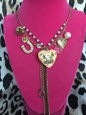 Betsey Johnson Vintage Betsey's Tea Party Puffy Heart Rose Bud Necklace RARE