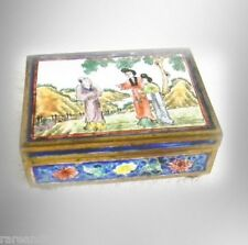 Qian Long vintage gilt metal and enamel box with figural scenes - FREE SHIPPING