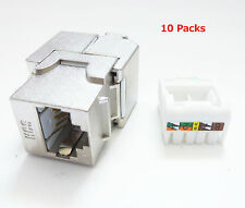 RJ45 Cat6A Shielded Metal Keystone Jacks 8P8C (10 Pack)