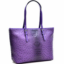 Dasein Ostrich Faux Leather Tote Shoulder Bag with Patent Leather Trim