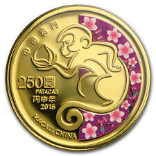 2016 Macau 1/4 oz Proof Gold Year of the Monkey (Colorized) - SKU #93074