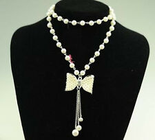 Womens Lady Jewelrys Cheap Necklace Pearl bow Sweater Lady Chain Charm Wholesale