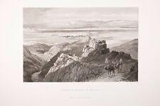 terre sainte - Plaine et ruines de Jericho 19°eme gravure sur acier