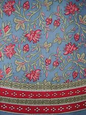"""Vintage Appeal Round Cotton Tablecloth 88"""" Blue and Red"""