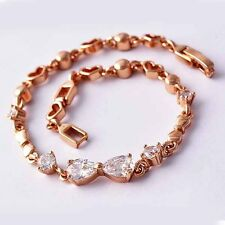 "Rose Gold Plated Womens Girls 7.28"" heart link chain bow clear Crystal bracelet"