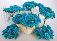 100 BLUE TURQUOISE ARTIFICIAL MULBERRY PAPER ROSE FLOWER CRAFT SCRAPBOOK WEDDING