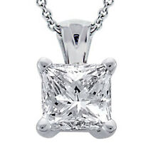 0.91 Ct. Tw Princess Cut Diamond Solitaire Pendant in 14 Kt White Gold - opens i