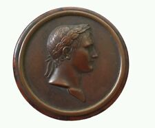 Antique SNUFF BOX Napoleon Bronze Medallion top on Burl wood