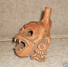 Brutal Whistle of Wind Skull Silbato de la Muerte Handmadem Clay see Pics Video