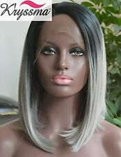 K'ryssma Grey Ombre Hair Short Bob Wigs for Black Women Natural Looking Dark Roo