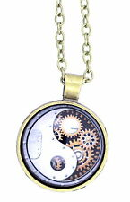 Bronze outlined yinyang yin yang sign and gearwheel pendant necklace