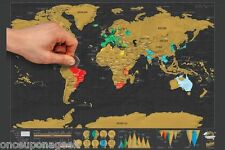 Deluxe Scratch Map ! Personalized World Scratch Map Scratch Off Coating Poster